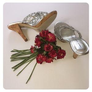 """Silver sandals 4"""" heel, NEW"""